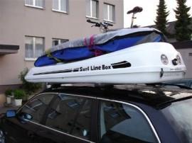 BMW Surfbox Bmw Foto's van dakkoffers Big-Malibu XL Surf met surfplankhouder