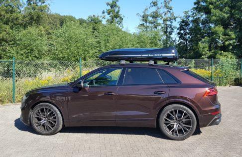 "Audi Q8 Kundenbilder Dachbox Moby Dick ""Aktion alles inklusive"""
